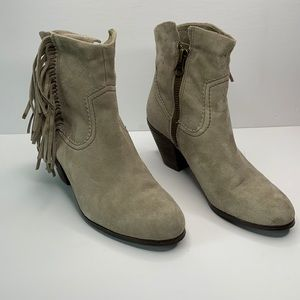 Sam Edelman Louie fringe heeled suede boots 9